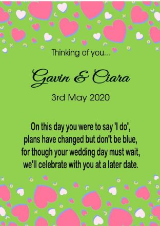 Thinking of you Wedding Postponed Card Hearts Green